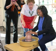 City Manager Teresa Wilson tries new pottery wheel
